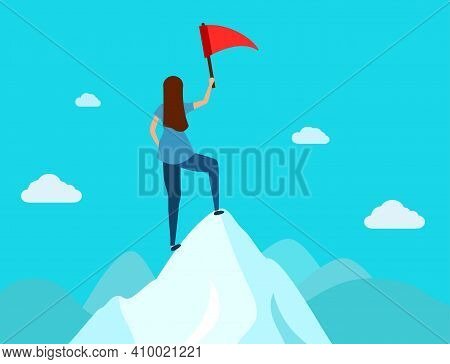 Leader Holding A Flag On Mountain Peak, Business Concept Of Victory And Success.