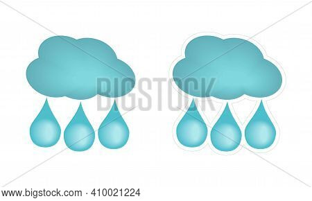 Vector Sticker With White Edging Of Three Raindrops And Cloud. Cartoon Rain Weather Icon. Clipart Is