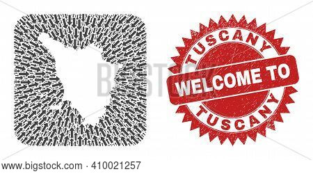 Vector Collage Tuscany Region Map Of Moving Arrows And Scratched Welcome Seal Stamp. Collage Geograp