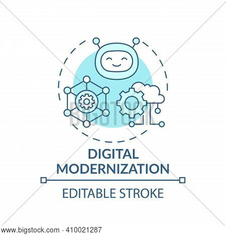 Digital Modernization Concept Icon. Meet Needs Of Industry Idea Thin Line Illustration. Upgrading An