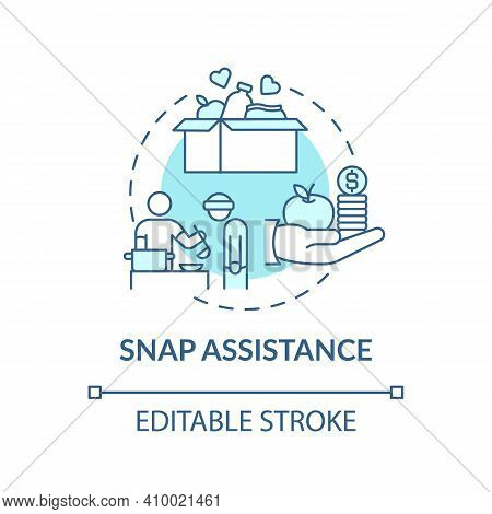Snap Assistance Concept Icon. Working To Fight Hunger Idea Thin Line Illustration. Supplemental Nutr