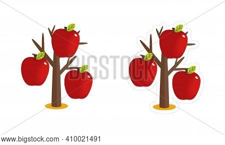 Vector Clipart Of An Autumn Bare Tree With Big Red Apples. Simple Cartoon Sticker  Of The Apple-tree