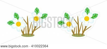 Spring Bare Flowering Shrub Sticker. Vector Cartoon Icon Of The Plant With Bare Stems And Blue Flowe