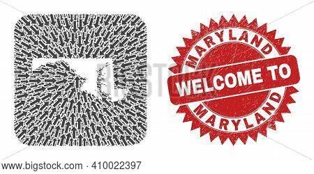 Vector Collage Maryland State Map Of Immigration Arrows And Rubber Welcome Seal Stamp. Collage Geogr