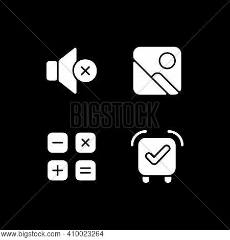 Smartphone Interface White Glyph Icons Set For Dark Mode. Silent Mode Setting. Photo Gallery. Smartp