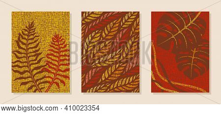 Set Of Three Posters, Wall Paintings. Plants Theme, Abstract Floral Pattern. Brown, Red, Yellow, Ora