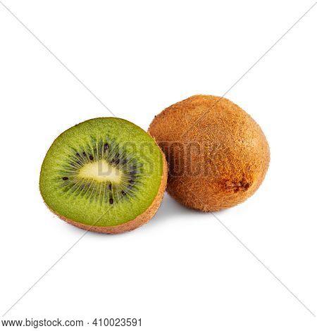 Juicy Fresh Kiwi Fruit Isolated On White Background. Sliced Kiwi