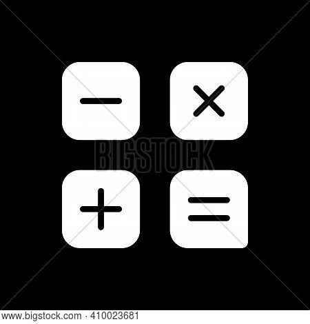 Calculator App Dark Mode Glyph Icon. Arithmetic Operations. Performing Calculations. Smartphone Ui B