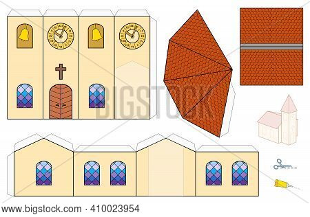 Church Template, Paper Craft Model. Cut-out Sheet For Making A Simple 3d Scale Model Church With Col