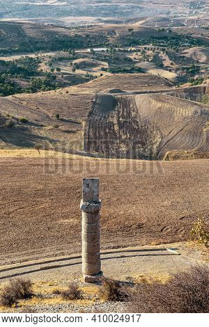 Bagozu, Turkey - October 8, 2020: This Is A View From The Ancient Burial Karakus Tumulus Mound To Th
