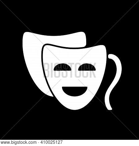 Comedy Dark Mode Glyph Icon. Funny Movie, Humorous Film, Classic Theater. Television Entertainment C