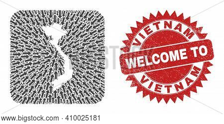 Vector Collage Vietnam Map Of Motion Arrows And Grunge Welcome Seal Stamp. Mosaic Geographic Vietnam