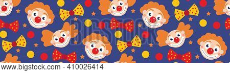 Happy Purim Banner Template With Clowns. Purim Carnival In Israel, Jewish Holiday. Vector Illustrati