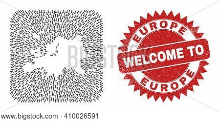 Vector Collage Europe Map Of Delivery Arrows And Grunge Welcome Stamp. Collage Geographic Europe Map