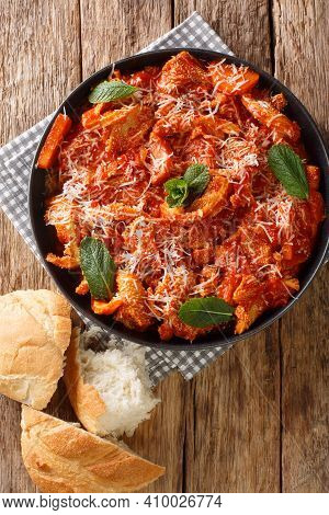 Trippa Alla Romana Roman Style Tripe With Tomato Sauce Closeup In The Plate On The Table. Vertical T