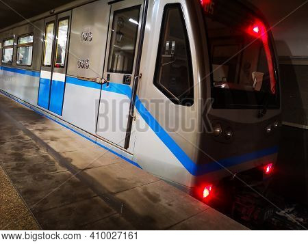 Departure Of The Metro Train From The Metro Station.