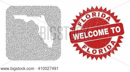 Vector Mosaic Florida State Map Of Motion Arrows And Rubber Welcome Stamp. Collage Geographic Florid