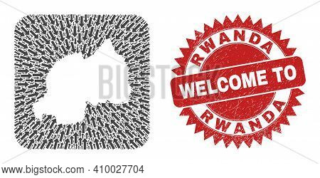 Vector Collage Rwanda Map Of Pointer Arrows And Rubber Welcome Seal Stamp. Mosaic Geographic Rwanda