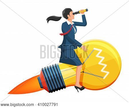 Businesswoman Flying On Big Idea Bulb Rocket. Business Woman On Lamp Looking Through Spyglass. Big I