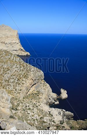 Cabo Formentor, Majorca / Spain - August 25, 2016: View And Landscape From Cabo Formentor And Mirado