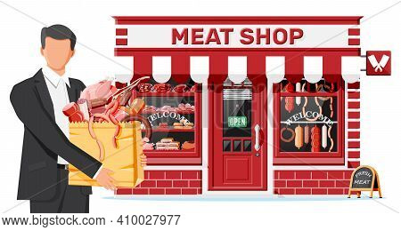 Butcher Shop Store Facade With Man Customer. Meat Street Market. Meat Store Stall Showcase Counter.