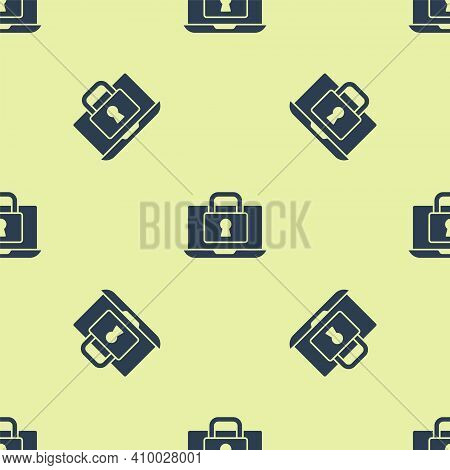 Blue Laptop And Lock Icon Isolated Seamless Pattern On Yellow Background. Computer And Padlock. Secu