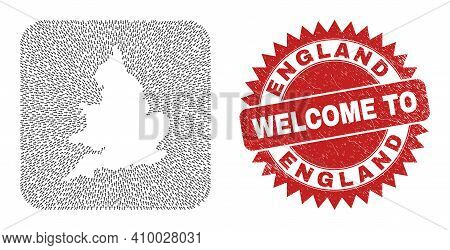 Vector Collage England Map Of Pointer Arrows And Rubber Welcome Badge. Collage Geographic England Ma