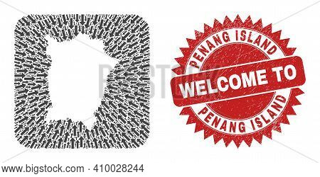 Vector Collage Penang Island Map Of Motion Arrows And Rubber Welcome Seal Stamp. Collage Geographic