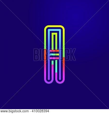 Neon Light A Letter Line Logo. Colored Tube Font For Events Posters, Lacing Emblem, Nightlife Banner
