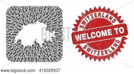 Vector Collage Switzerland Map Of Moving Arrows And Grunge Welcome Seal Stamp. Mosaic Geographic Swi