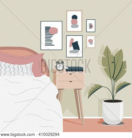 Modern Flat Poster With Pink Cozy Bedroom Design On White Background. Cozy Modern Scandinavian Inter