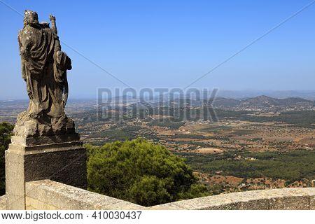 Felanitx, Majorca / Spain - August 25, 2016: Landscape From Santuari De Sant Salvador Monastery, San