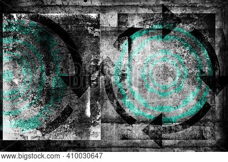 Abstract Grunge Futuristic Cyber Technology Background.  Drawing On Old Grungy Surface. Vintage Dirt