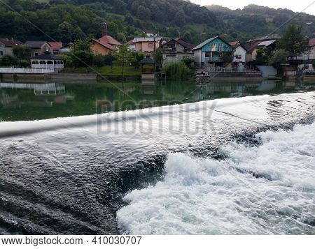 Banja Luka, Bosnia And Herzegovina - June 26, 2020: Waterfall On The River Vrbas In Novoselija, Near