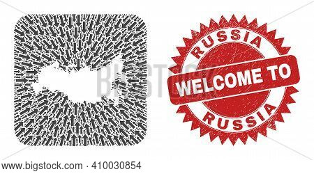 Vector Collage Russia Map Of Pointer Arrows And Grunge Welcome Seal Stamp. Collage Geographic Russia