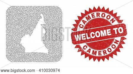 Vector Mosaic Cameroon Map Of Migration Arrows And Rubber Welcome Seal. Mosaic Geographic Cameroon M