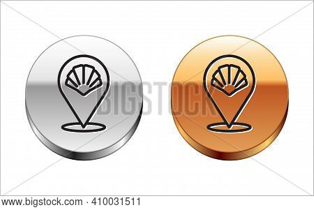 Black Line Scallop Sea Shell Icon Isolated On White Background. Seashell Sign. Silver-gold Circle Bu