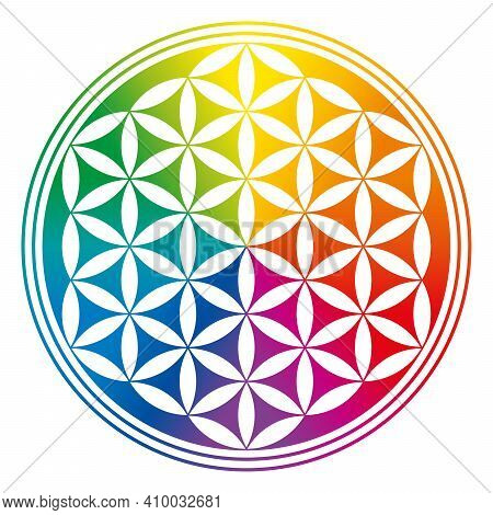Flower Of Life, Inverted And Rainbow Colored. A Geometric Figure, Spiritual Symbol And Sacred Geomet