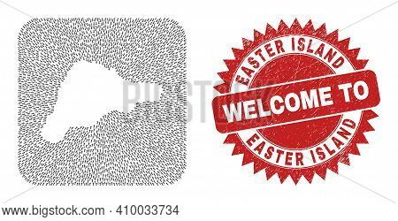 Vector Mosaic Easter Island Map Of Straight Arrows And Grunge Welcome Stamp. Mosaic Geographic Easte