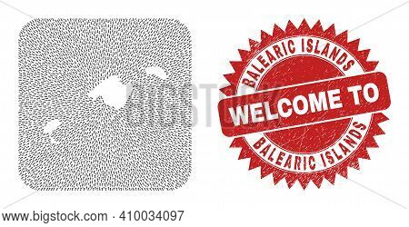 Vector Mosaic Balearic Islands Map Of Pointer Arrows And Rubber Welcome Seal Stamp. Mosaic Geographi