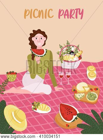 Woman Sitting On Blanket. Picnic Party On The Beach. Young Single Girl Is Happy With Food Outdoor. W