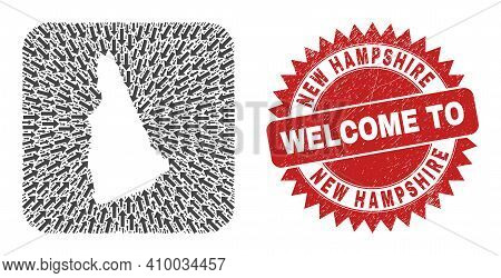 Vector Mosaic New Hampshire State Map Of Immigration Arrows And Rubber Welcome Seal. Mosaic Geograph