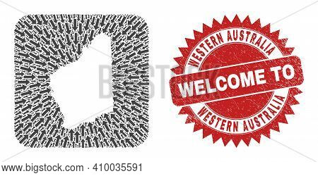 Vector Collage Western Australia Map Of Moving Arrows And Rubber Welcome Seal Stamp. Collage Geograp