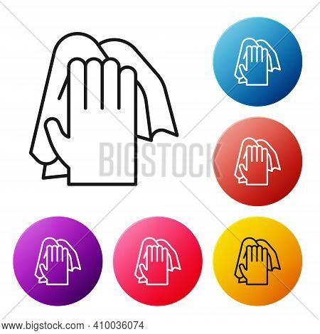 Black Line Cleaning Service Icon Isolated On White Background. Latex Hand Protection Sign. Housework