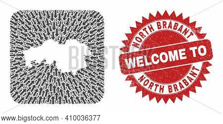 Vector Collage North Brabant Province Map Of Motion Arrows And Rubber Welcome Stamp.