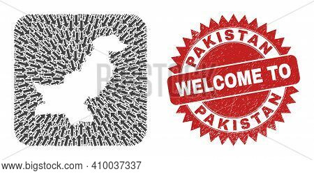 Vector Collage Pakistan Map Of Straight Arrows And Scratched Welcome Stamp. Collage Geographic Pakis