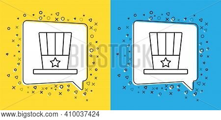 Set Line Patriotic American Top Hat Icon Isolated On Yellow And Blue Background. Uncle Sam Hat. Amer