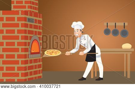 In The Pizzeria, A Young, Happy Cook Puts A Freshly Cooked Pizza Into The Oven. Cartoon Vector Illus