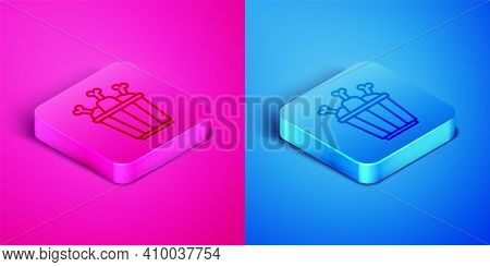 Isometric Line Chicken Leg In Package Box Icon Isolated On Pink And Blue Background. Chicken Drumsti
