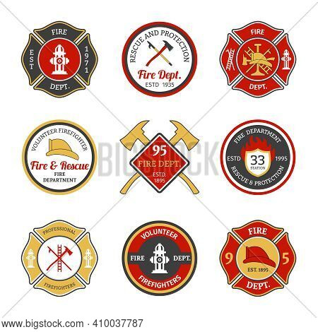 Fire Department Rescue And Protection Volunteers And Professional Firefighter Emblems Set Isolated V